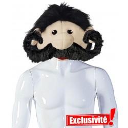 Tête de mascotte moustachue